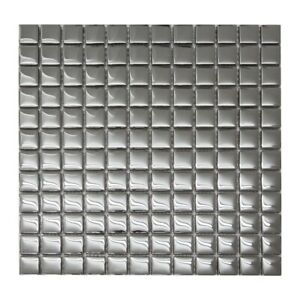 Mirror Gloss Silver Glass Mosaic Tiles Sheet For Walls Floors Bathrooms