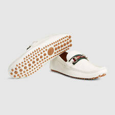 Gucci Mens Horsebit White Leather Driver Moccasin Loafer 10.5G US 11.5 $495