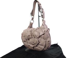 Yves Saint Nadja Leather Pink Beige Shoulder Bag YS16973L