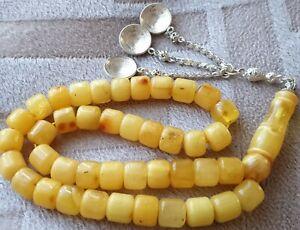 Natur BERNSTEIN Tesbih Butterscotch Rosenkranz Gebetskette  Antike Vintage