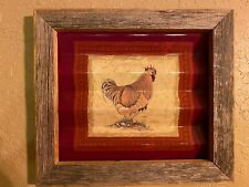 Rustic Rooster Corrugated Metal - Weathered Wood Frame Picture