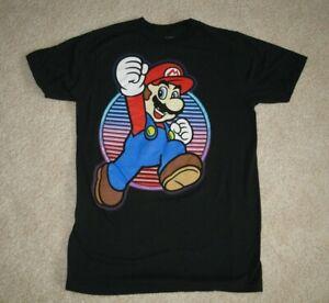 Super Mario Black T-Shirt Nintendo Licensed Medium 100% Cotton Perfect Condition