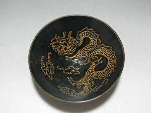China Jizhou kiln porcelain black glaze old Bowl Painted Dragon Jizhou kiln Bowl