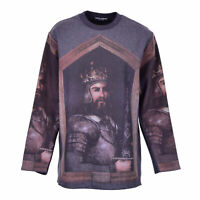 DOLCE & GABBANA RUNWAY Oversize King Crown Sweater Sweatshirt Wool Gray 07309