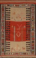 Flat-Woven Tribal Kilim Traditional Wool Area Rug Oriental Foyer Carpet 4x6 ft