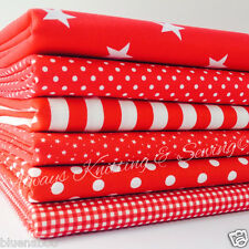6 FAT QUARTER BUNDLE RED basics spots stripes plains 100 % cotton fabric