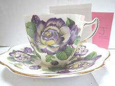 ROSINA TEACUP AND SAUCER - PURPLE AND YELLOW FLOWERS - J