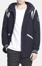 Mens DIESEL Bomb Jacket Sz S Navy Blue Varsity Polyester Wool Blend Trench Coat