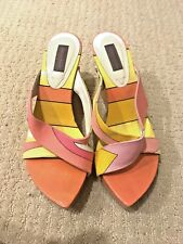 EMILIO PUCCI Pointed Toe Geometric Pattern Wedge Size 36.5 Jessica Simpson