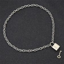 Square Lock Pendant Necklace Men Womens Unisex Silver Chain Fashion Jewelry
