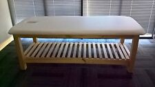 ULTRASTYLE CUSTOM MADE WHITE THAI MASSAGE WOOD TABLE WITH RACK  AUSTRALIAN MADE
