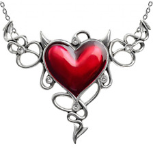 ALCHEMY DEVIL HEART GENEREUX NECKLACE RED ENAMEL, SWAROVSKI STATEMENT GOTHIC