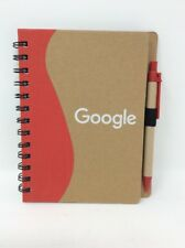 Recycled Paper Wirebound Notebook w/Pen, BRANDED GOOGLE, Colors May Vary