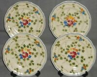 Set (4) Longchamp NEMOURS PATTERN Hand Painted SALAD PLATES Made in France