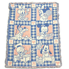 Disney Vintage Baby Blanket Unisex Pink Blue Mickey Minnie 90s Stitched