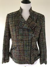 COLDWATER CREEK Shaped Multicolor Tweed Boucle Moto Jacket Fitted size 10P