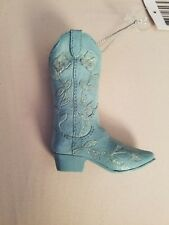 Resin Light Blue Cowboy Boot Ornament Midwest Cbk New