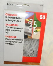 LITES UP 50 COUNT OUTDOOR UNIVERSAL GUTTER & SHINGLE CLIPS BRAND NEW IN BOX