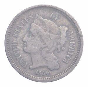 ***3***THREE***Cent*** - 1866 Three Cent Nickel Piece - Tough to Find *894