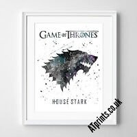 GAME OF THRONES Print Poster Watercolour Framed Canvas Wall Art House STARK