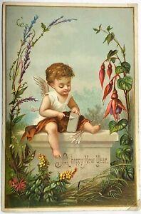 "# B3378    VICTORIAN   CARD,   "" A  HAPPY NEW  YEAR  """