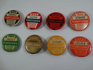 8 Vintage Pennsylvania Fishing License Button Pinback 1942 44 47 1952 54 55 56 8
