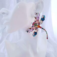 HUGE Colourful Oversized DRAGONFLY Earrings Rich Sparkle Rhinestone Designer