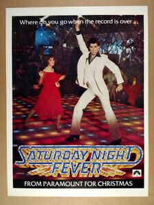 1977 Saturday Night Fever vintage movie industry trade print Ad