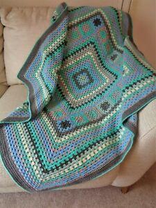 Handmade OOAK Crochet Blanket Throw Afghan Camper Granny Square Green Blue