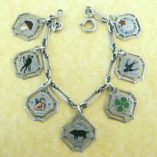 Antique German Silver Charm Bracelet 7 Lucky Enamel Charms Angel Clover Pig +