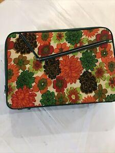Vintage Vibrant 1970's Retro Floral Small Suitcase Green Orange Flowers Lock Key