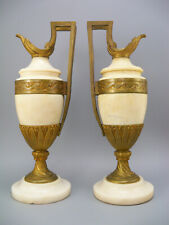 Pair Antique 19th Century French Gold Gilt Bronze and Alabaster Urns Ewers
