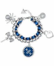 NIB GUESS Silver Tone Woven Ribbon Pave & Enamel Charm Bracelet