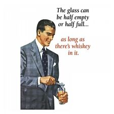 "Retro Humour ""The Glass Can Be Half Empty"" Greetings Card Birthday Gift Occasion"