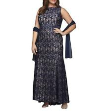 ALEX EVENINGS® Plus Size 14W Navy/Nude Lace Sequin Gown & Shawl NWT $280