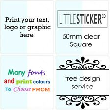 Clear stickers personalised 50 - 200 Party Invitation Stickers SQUARE 50mm
