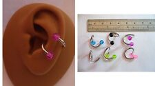 6 Piece Surgical Steel Twisted Glitter Balls Conch Rings Hoops 14 gauge 14g