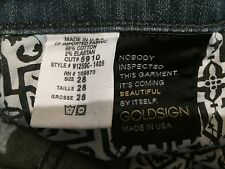 Goldsign Stardust Jeans size 28 waist in. inseam 28 in. rise 8 ½ in. stretch USA
