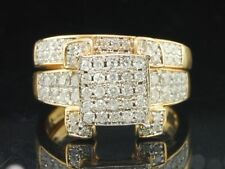 14k Yellow Gold Over Round Set Diamond Bridal Engagement Ring Wedding Band