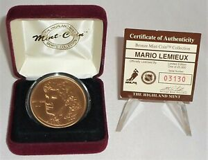 Pittsburgh Penguins Mario Lemieux  Bronze Coin #03130/25000 Highland Mint w/COA