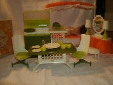 Vintage mcm mid century modern doll furniture amsco Laurie canopy kitchen bed