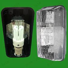 EXTERIOR RECTANGULAR NEGRO IP65 MAMPARA & 15w Anochecer A Sensor Amanecer CFL