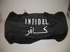 Embroidered Black Infidel Military Utility Duffle Sports Travel Bag