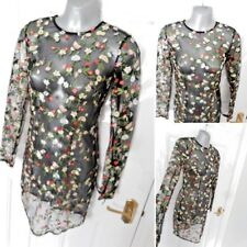 ❤ PRETTY LITTLE THING Size 6 Black Multi Floral Embroidered Mini Dress NEW