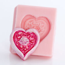 Heart shaped silicone mold use with gumpaste candies polymer clays resins (506)