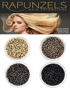 NANO BEADS FOR NANO TIP HAIR EXTENSIONS, BLONDE, LIGHT BROWN, DARK BROWN, BLACK