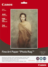 "PAPIER CANON "" FINE ART"" PHOTO RAG  A4 20F 188g FA-PR1/ FAPR1 COTON COTTON PAPER"