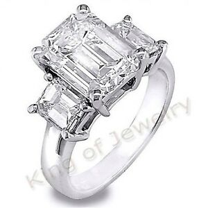 5.00 Ct. 3-Stone Natural Emerald Cut Diamond Engagement Ring J VVS2 GIA Platinum