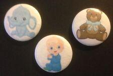 Buttons- Metal - Baby Boy2  x 3 - blue theme