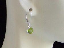 New 925 Sterling Silver Genuine Peridot Charm Leverback Earrings 1.5tcw